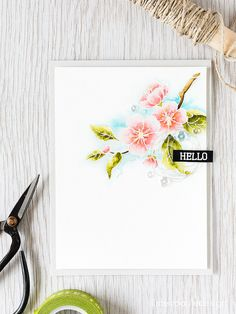 Watercolor floral card & Video by Debby