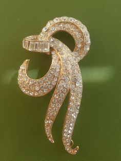 vintage ArtDeco gold metal and crystals embellishment from Rome
