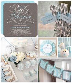 Classic baby blue and gray is a simple but chic color combination for a shower. Dial it up a notch with stylish decor and too-pretty-to-eat desserts.