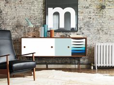 Finn Juhl Credenza, Playtype Poster, leather + cowhide