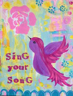 Pink and Purple Bird Original Painting, Music, Sing your Song, 8x10, Pink, Light Blue, Yellow, Girl's Room on Etsy, $48.00