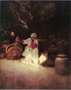 "Ali Baba: ""He tried to remember the word Sesame"" illustration by Maxfield Parrish from Arabian Nights"