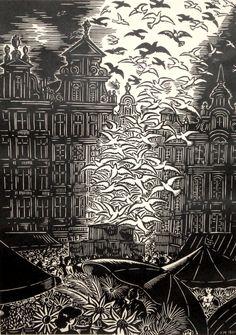 FRANS MASEREEL (1889-1972)  Grand Place de Bruxelles (woodcut, 1961)