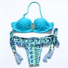 Sexy Ladies Bandeau Bikini Bathing suit Swimsuit Push Up Padded Striped Bikini Set Brazilian Biquini Beachwear
