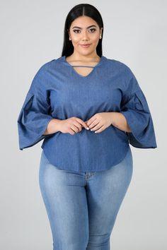 Plus Size Fashion For Women, Plus Size Womens Clothing, Plus Size Outfits, Size Clothing, Curvy Fashion, Denim Fashion, Curvy Women Outfits, African Blouses, Looks Plus Size