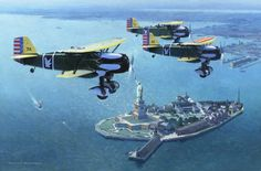 Curtiss P-6E Hawks patrolling over Ellis Island, NY, 1933. . .