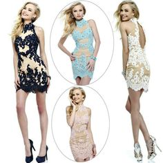 Free shippingHigh Neck Mermaid Blue Pink White Navy and Champagne Backless Prom Dresses 2013 Short $151.99