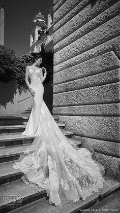 valeria marini seductions 2017 bridal illusion long sleeves sheer bateau neck sweetheart neckline heavily embellished bodice sexy elegant sheath wedding dress royal train (Immagine) mv