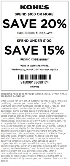 Kohls Coupons and Discounts – April 2015 Coupon Codes and Printable Coupons