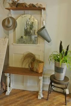 DIY: Hall Tree Tutorial   Made From Salvaged Pieces, Including A Door, Floor
