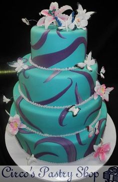 Lavender Swirls with Turquoise Cake  Sweet 16 Tier Cake with Fondant Butterflies and Sugar Flowers