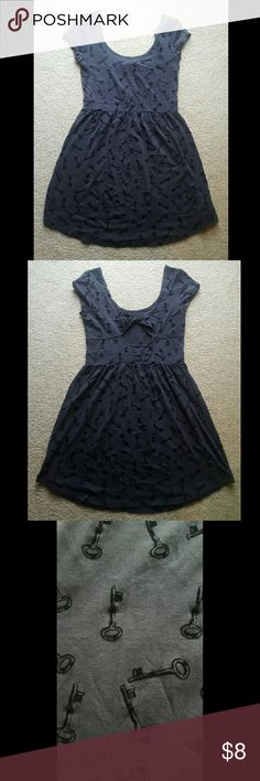 Forever 21 Key Print dress Charcoal grey twisted back *small holes in back but not very visible when worn (shown in last photo) Forever 21 Dresses