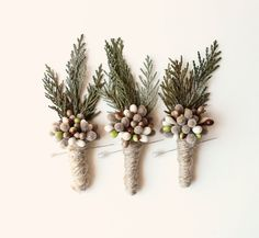 woodland boutonniere winter weddings groomsmen by whichgoose #xmas_present