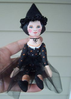 Painted All Cloth Hallowen Hitty doll Witch by  SueCS