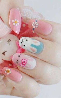 Gorgeous Pastel Pink Easter Nail Designs, Easter Bunny Nails, Holiday Nail Art for Girls