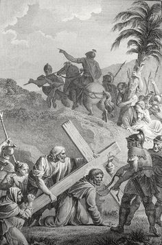 Phillip Medhurst presents John's Gospel: Bowyer Bible print 5491 Simon of Cyrene takes up Christ's cross John 19:17 Monsiau on Flickr. A print from the Bowyer Bible, an extra-illustrated edition of...