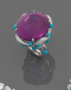 A diamond, amethyst, turquoise and gold ring by Marchak