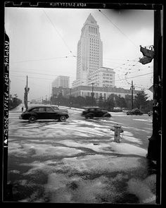Snow in Los Angeles during the winter of 1948...  UCLA Archives