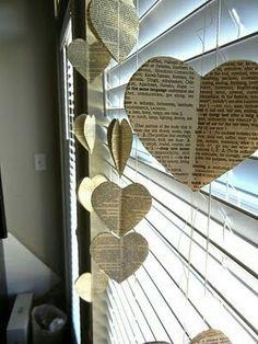 Cortina corações de livro
