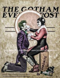 Joker and Harley Quinn - Gotham Evening Post by Lady-Ha-ha on DeviantArt Comic Books Art, Comic Art, Deadpool Funny, Hq Dc, Sci Fi Comics, Joker Art, Sirens, Marvel, Norman Rockwell