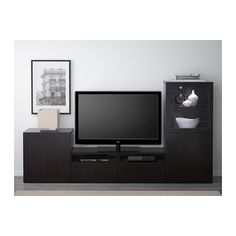 BESTÅ TV storage combination/glass doors - Hanviken/Sindvik black-brown clear glass, drawer runner, push-open - IKEA