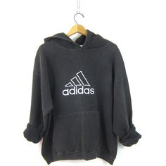 90s ADIDAS HOODIE Sports sweatshirt sporty sweater Black White cotton... (£34) ❤ liked on Polyvore featuring tops, hoodies, cotton hooded sweatshirt, adidas hoodies, cotton hoodie, black and white hoodie and cotton pullover hoodie