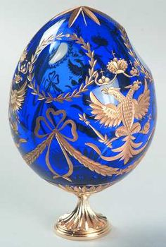 FABERGE CRYSTAL EGG, CUT, GOLD TRIM  PIECE NAME: ROMANOV EAGLE  replacements.com
