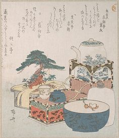 Utensils with Decorations for the New Year Ryûryûkyo Shinsai (Japanese, 1764?–1820) Date: 19th century Culture: Japan Medium: Part of an album of woodblock prints (surimono); ink and color on paper