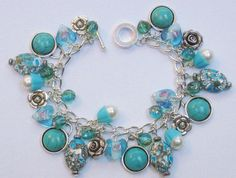 CURRENTLY FOR SALE ON ETSY Faux Turquoise Cabochon  Vintage Faux Pearl & Aqua Glass Heart Charm Bracelet