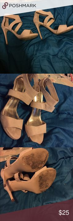 GUESS strappy heels Worn but still great condition. Has been worn just a few times, not dirty, has one little spot on the right top. Barley noticeable. Very trendy and great for any season with any outfit! Velvet like texture material Guess Shoes Heels