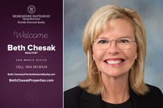 BERKSHIRE HATHAWAY HOMESERVICES FLORIDA NETWORK REALTY WELCOMES BETH CHESAK