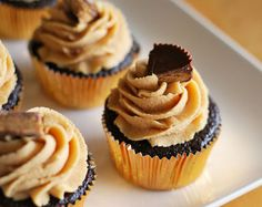 Chocolate Ganache filled Cupcakes w/ Creamy Peanut Butter Frosting