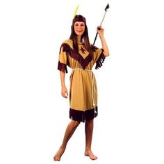 4fe62a4146de Ladies Native Red Indian Lady Woman Fancy Dress Costume