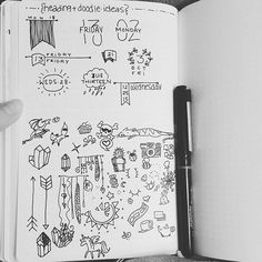 """#bulletjournal #planwithmechallenge day 11: """"help me!"""" Ever feel stuck on doodles for your empty space, or a cool new way to write your header? Make a collection! While browsing here and on other platforms, if you see something you like, add it to the page! It doesn't even have to be pretty, so long as you know you'll be able to replicate it later when you want to. Doodle a cute house you saw today. Draw your snacks or favorite foods. Just keep your eyes open, and steal like an artist!"""