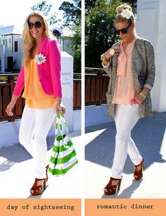 3 LC Lauren Conrad collection pieces worn two different ways: daytime vs nighttime {pieces included: white pencil jeans, platform dress sandals, filagree bracelet}