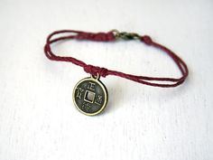 Lucky Chinese Coin Bracelet 26 colors by greenduckweed on Etsy, $8.00