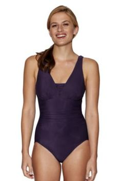 1cb0c33e4cf89 Womens Grecian One Piece Slender Suit from Lands End Spanx Swimwear