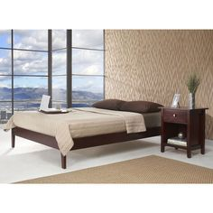 Platform bed features 12 solid wood cross slats, center slat, and center leg supports for use with or without box springBed built from Tropical Mahogany solid woodPlatform bed fits standard king-size mattress or mattress set