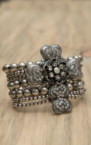 M&F Products® Silver Heart Cross Stretch Bracelet | Cavender's