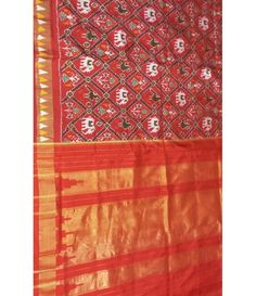 Orange Handloom Ikkat Pochampally Silk Saree