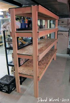 Cost to build storage units build a wood shop small garage shop ideas small Basement Storage Shelves, Diy Garage Storage, Garage Shelving, Shop Storage, Storage Ideas, Wooden Garage Shelves, Cheap Shelves, Kayak Storage, Shelving Ideas