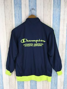 54857d5b8 Vintage CHAMPION Jacket Windbreaker Small 1990's Champion Usa Sportswear  Champion Spell Out Windrunner Trainer Jacket Size S