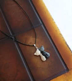 Cat family necklace handmade from polymer clay mother/father