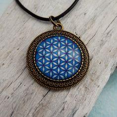 Blume des Lebens Anhänger Medaillon 35 mm Blau von KIMAMAdesign