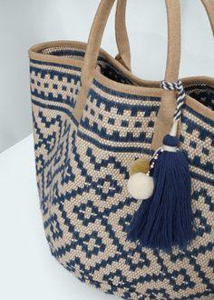 Diy Crafts - Jute jacquard bag - Bags for Woman Leather Bags Handmade, Handmade Bags, Tapestry Crochet Patterns, Crochet Shell Stitch, Free Crochet, Ethnic Bag, Tapestry Bag, Art Bag, Boho Bags