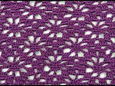 En esta entrega aprenderemos a realizar un punto lindo que podemos utilizar para hacer blusas, chales o cortinas. Se realiza con cadeneta múltiplo de 14+1.. Crochet, Crochê,