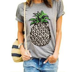2017 Mode Femmes Gris Blanc T Shirt Col Rond Manches Courtes Ananas Imprimer Casual D'é Mode Style, Style Me, Casual Summer Outfits, Cute Outfits, Casual Weekend, Casual Wear, Vetements T Shirt, Street Style Outfits, Mode Shoes