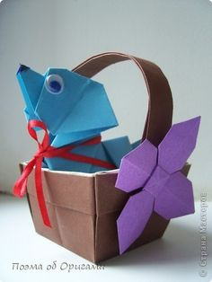 Мастер-класс Оригами Голубой щенок в корзинке Бумага фото 1