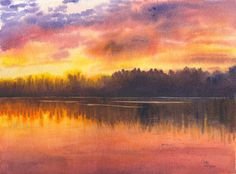 Sunset Lake Original Watercolor Painting by Cathy by CathyHillegas