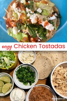 Easy Chicken Tostadas using the Instant Pot Crispy Tacos, Chicken Tostadas, Fried Tortillas, Green Salsa, Frozen Chicken, Bean Salad, Refried Beans, My Recipes, Instant Pot